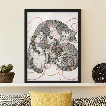 Poster con cornice - Illustrazione Grey Cat Pittura - Verticale 4:3