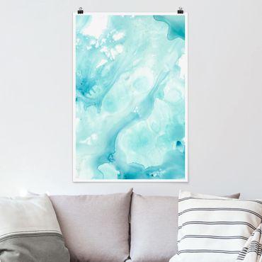 Poster - Emulsione Bianco e Turchese I - Verticale 3:2