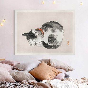 Stampa su tela - Asian gatto addormentato Vintage Disegno - Orizzontale 3:4