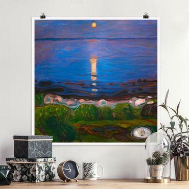 Poster - Edvard Munch - Summer Night On The Sea Beach - Quadrato 1:1