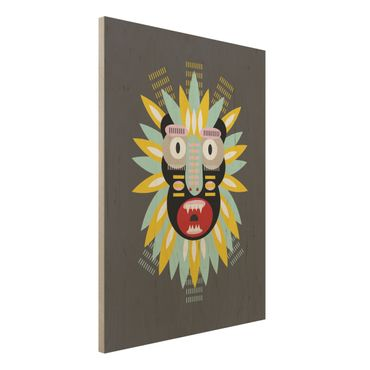 Stampa su legno - Collage Mask Ethnic - King Kong - Verticale 4:3