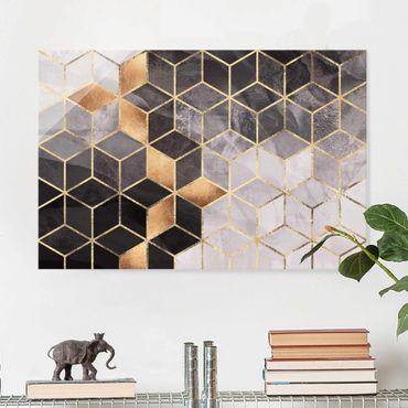 Quadro in vetro - Bianco e oro Geometria Nero - Orizzontale 2:3