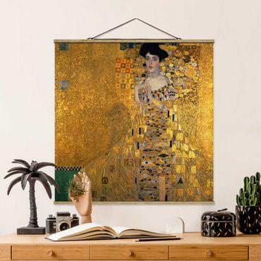 Foto su tessuto da parete con bastone - Gustav Klimt - Ritratto di Adele Bloch-Bauer I - Quadrato 1:1