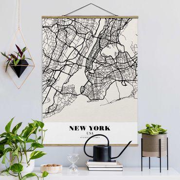 Foto su tessuto da parete con bastone - Mappa New York - Classic - Verticale 4:3