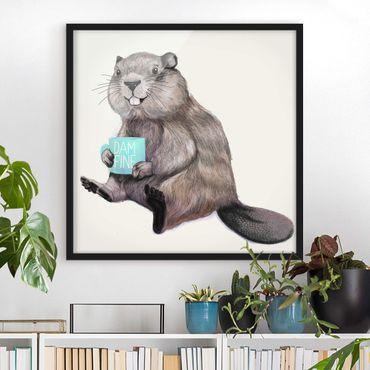 Poster con cornice - Illustrazione Beaver con tazza di caffè - Quadrato 1:1