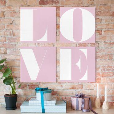 Stampa su tela - Antiqua Letter Love Rosé - 4 parti