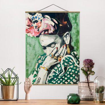 Foto su tessuto da parete con bastone - Frida Kahlo - Collage No.3 - Verticale 4:3