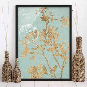 Poster con cornice - Foglie D'Oro Su Turquoise II - Verticale 4:3