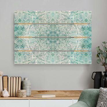 Stampa su legno - Mandala acquerelli Ornament Pattern Turchese - Orizzontale 2:3
