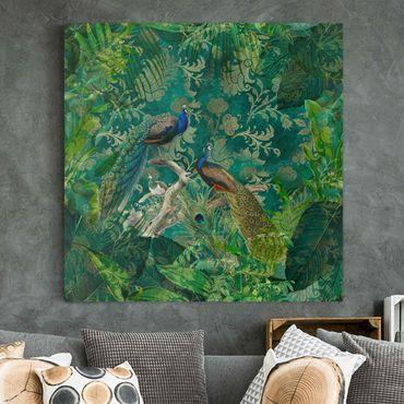 Stampa su tela - Shabby Chic Collage - Noble Peacock II - Quadrato 1:1