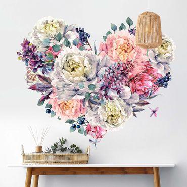 Adesivo murale - Acquerello Cuore Blossoms Bouquet XXL