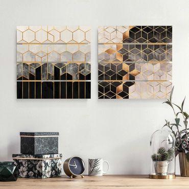 Quadro in legno effetto pallet - Elisabeth Fredriksson - Oro Geometria Acquarello - Quadrato 1:1