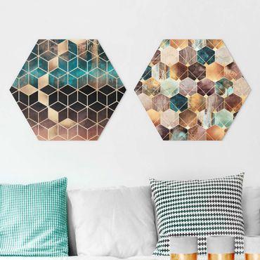 Esagono in forex - Elisabeth Fredriksson - Turquoise Geometria Golden Art Deco Set