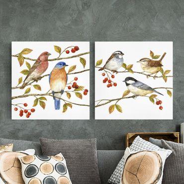 Stampa su tela - Uccelli e Bacche Set I - Quadrato 1:1