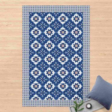 Tappeti in vinile - Piastrelle marocchine in acquerello blu con cornice di mattonelle - Verticale 2:3
