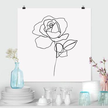 Poster - Line Art Rosa Nero Bianco - Quadrato 1:1