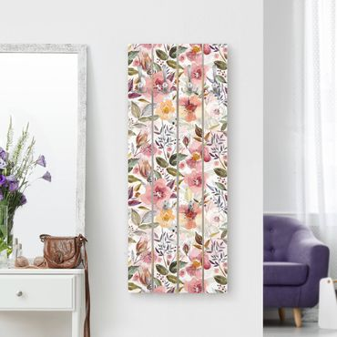 Appendiabiti in legno - Colorful Flower colore della miscela di acqua con le - Ganci cromati - Verticale