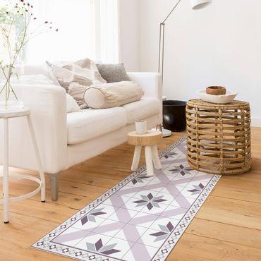 Tappeti in vinile - Piastrelle geometriche fiori rombici lilla con bordo sottile - Pannello