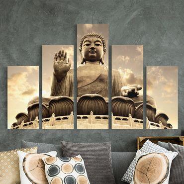 Stampa su tela 5 parti - Big Buddha Sepia