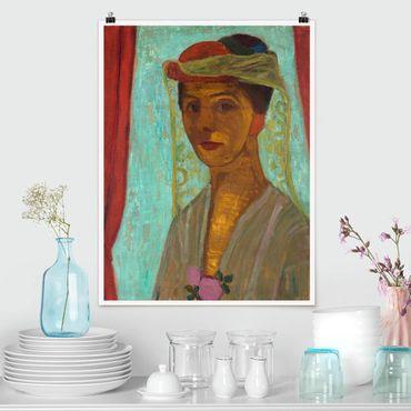 Poster - Paula Modersohn-Becker - Autoritratto con cappello - Verticale 4:3