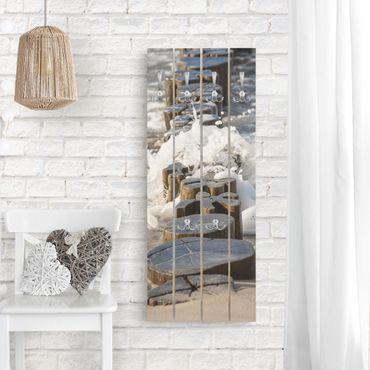 Appendiabiti in legno - Frangiflutti sulla spiaggia - Ganci cromati - Verticale