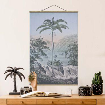 Foto su tessuto da parete con bastone - Vintage Illustrazione - Paesaggio Con La Palma - Verticale 3:2