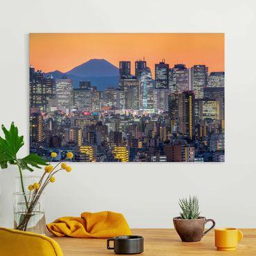 Stampa su tela - Tokyo con il monte Fuji di sera