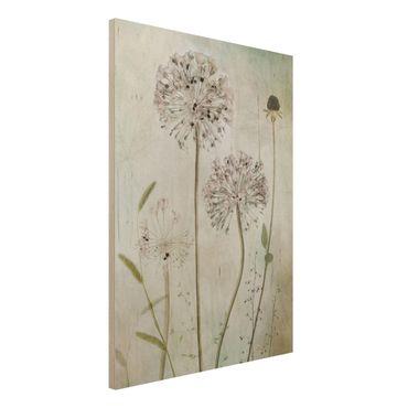 Quadro in legno - fiori Allium a pastello - Verticale 3:4