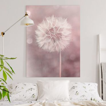 Stampa su tela - Dandelion rosa bokeh - Verticale 4:3