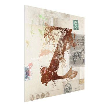 Stampa su Forex - Vintage oro Alfabeto Lettera Z - Quadrato 1:1