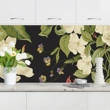 Rivestimento cucina - Giardino floreale su nero I