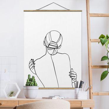 Foto su tessuto da parete con bastone - Line Art Woman Back Bianco e nero - Verticale 4:3