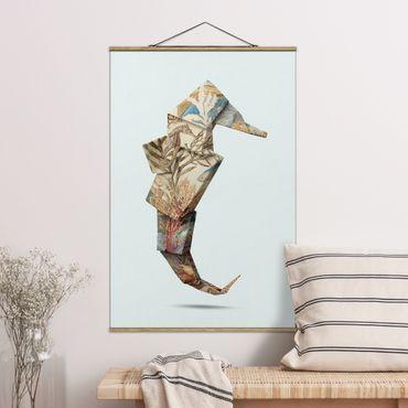 Foto su tessuto da parete con bastone - origami Seahorse - Verticale 3:2