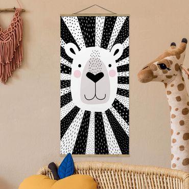 Foto su tessuto da parete con bastone - Zoo con Patterns - Lion - Verticale 2:1