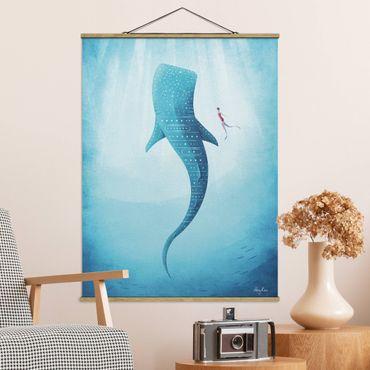 Foto su tessuto da parete con bastone - Lo squalo balena - Verticale 4:3