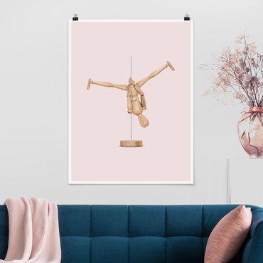 Poster - Pole Dance Con Figura legno - Verticale 4:3