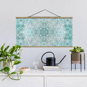 Foto su tessuto da parete con bastone - Mandala acquerelli Ornament Pattern Turchese - Orizzontale 1:2