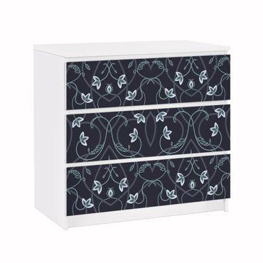 Carta adesiva per mobili IKEA - Malm Cassettiera 3xCassetti - Floral ornament fantasy