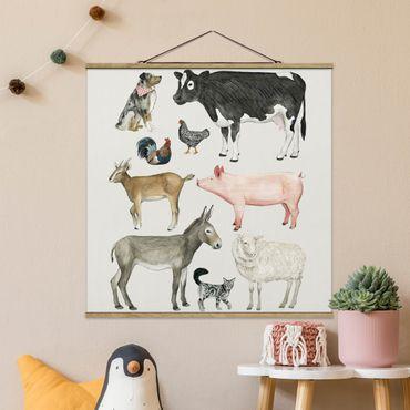 Foto su tessuto da parete con bastone - La fattoria degli animali Famiglia I - Quadrato 1:1