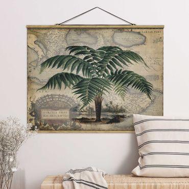 Foto su tessuto da parete con bastone - Vintage Collage - Palm e mappa del mondo - Orizzontale 3:4