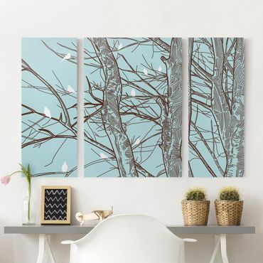 Stampa su tela 3 parti - Winter Trees - Trittico