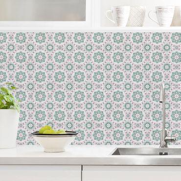 Rivestimento cucina - Mosaici floreali turchese rosa