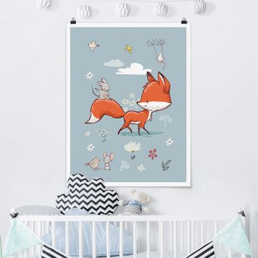 Poster - Fox E Mouse In movimento - Verticale 4:3