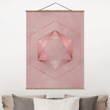Foto su tessuto da parete con bastone - Geometria In rosa e oro io - Verticale 4:3