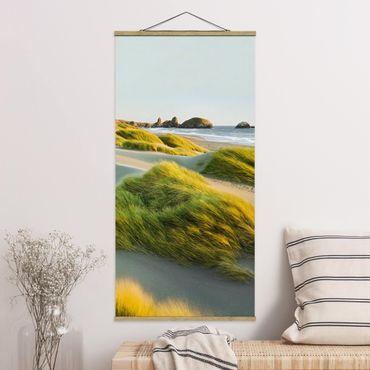 Quadro su tessuto con stecche per poster - Dune ed erbe Al Mare - Verticale 2:1