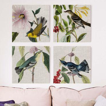 Stampa su tela - Uccelli su lino Set II - 4 parti