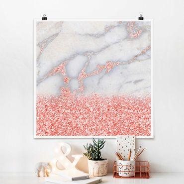 Poster - Ottica marmo con Rosa Confetti - Quadrato 1:1