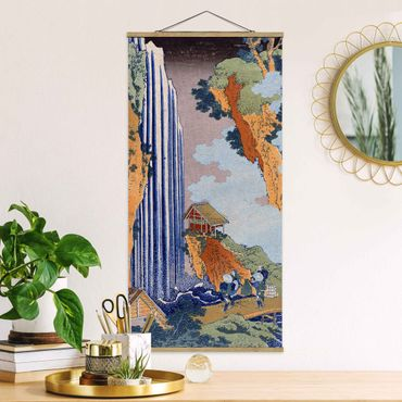 Foto su tessuto da parete con bastone - Katsushika Hokusai - Ono Cascata - Verticale 2:1