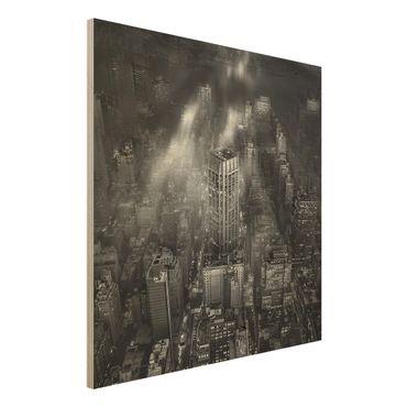 Quadro in legno - Luce del sole su New York - Quadrato 1:1