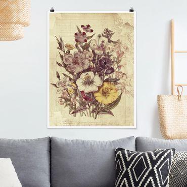 Poster - Bouquet Lettera Vintage - Verticale 4:3